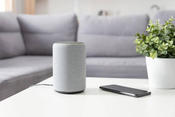 Smart speaker device in living room. Smart home. stock photo