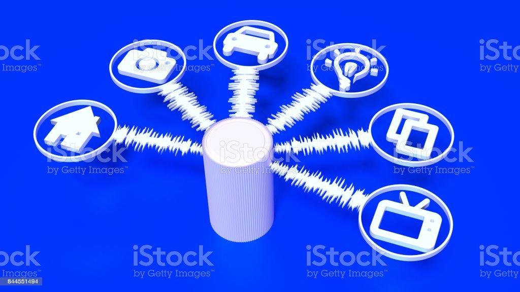 Dispositivo de alto-falante inteligente no azul com as ondas sonoras e ícones de dispositivo - foto de acervo