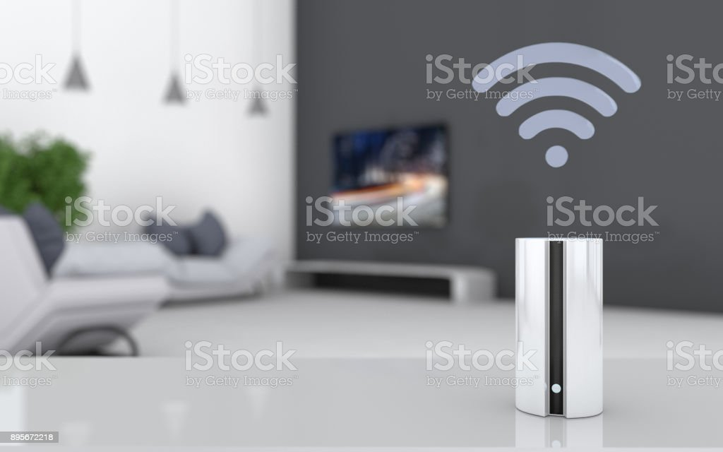 Smart speaker in a residential building stock photo