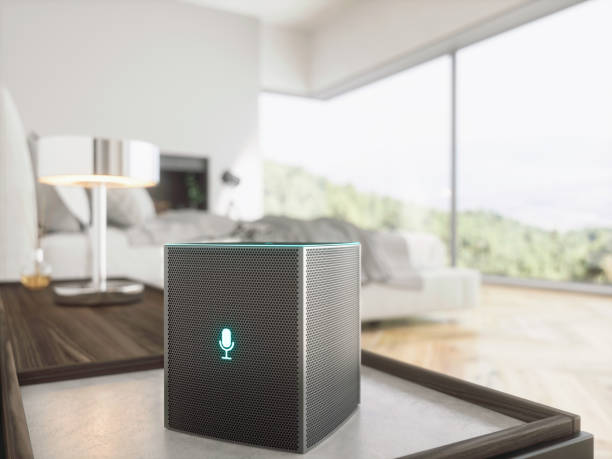 Smart speaker in Bedroom Smart speaker in Bedroom smart speaker stock pictures, royalty-free photos & images