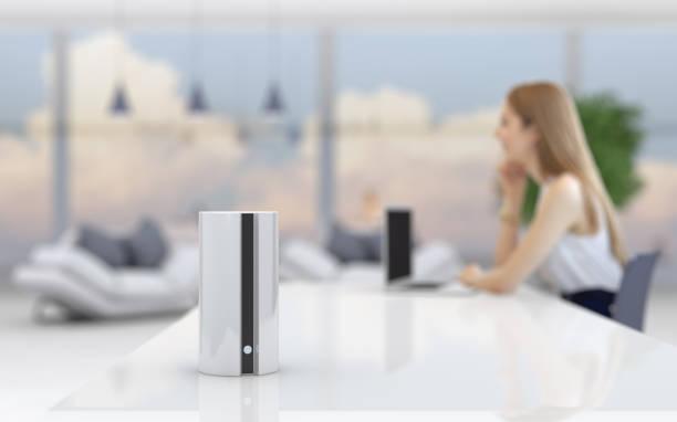 Smart speaker in home office stock photo