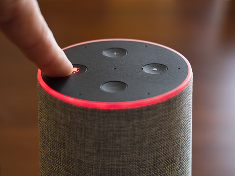 Smart speaker top view artificial intelligence assistant switch on off microphone red ring