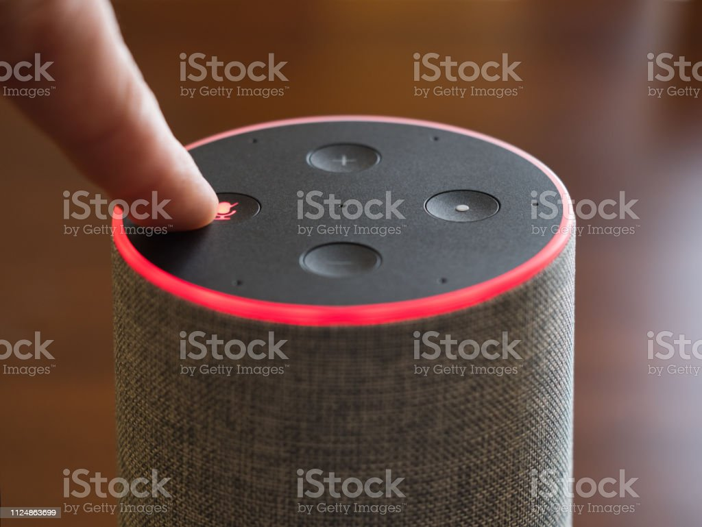 Smart speaker top view artificial intelligence assistant switch on off microphone stock photo