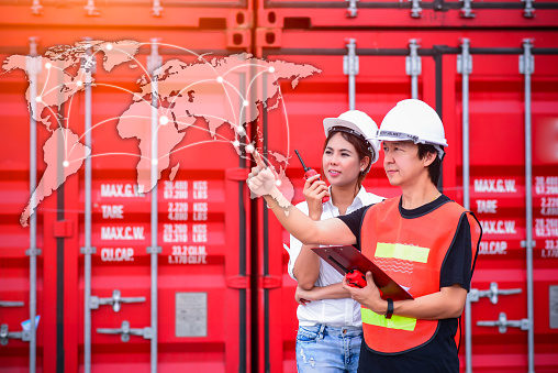 613881746 istock photo Smart technology concept with global logistics partnership and transportation of Container Cargo ship and Cargo plane 701244320