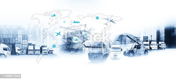 istock Smart technology concept with global logistics partnership Industrial Container Cargo freight ship, internet of things Concept of fast or instant shipping, Online goods orders worldwide 1159527040