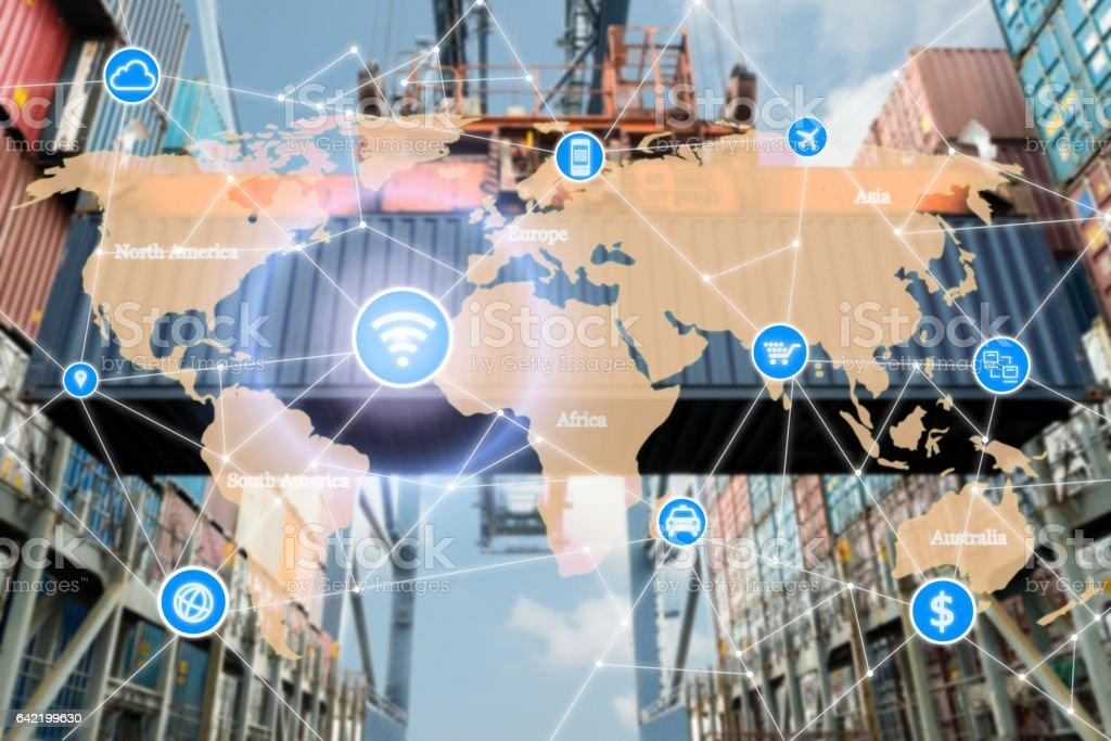Smart technology concept with global logistics partnership stock photo
