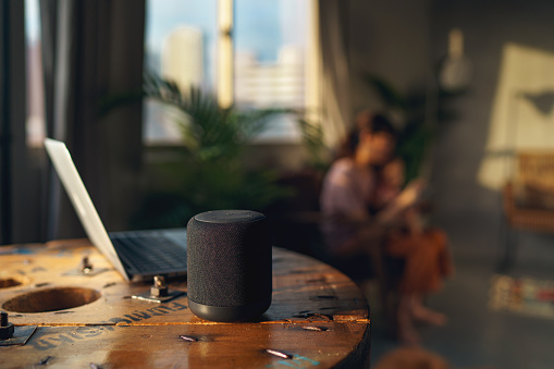 Smart speaker at home allows the parent to be more hands free while caring and supervising the active child