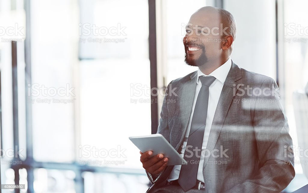Smart technology helps him execute executive decisions with ease stock photo