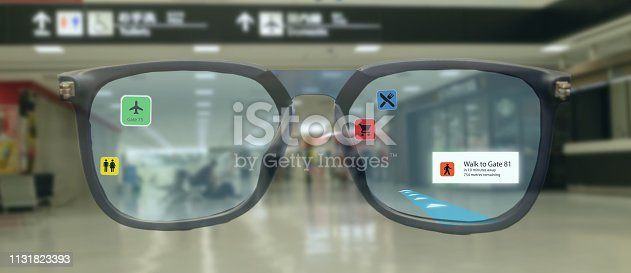1150202730istockphoto smart technology in industry mobile 4.0 or 5.0 concept , user use smart glasses with augmented mixed virtual reality technology in real 3d for show the map,shop,  and walk way path to gate in airport 1131823393