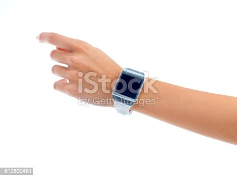 Cropped view of a woman wearing a smartwatch. The commercial product(s) or designs displayed in this image represent simulations of a real product, and are changed or altered enough so that they are free of any copyright infringements. Our team of retouching and design specialists custom designed these elements for each photo shoot