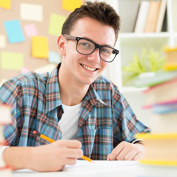 Smart teenage student stock photo