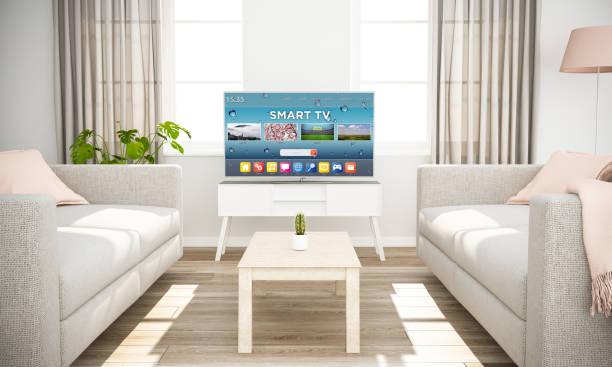 smart tv auf skandinavischen minimale innere - desktop hintergrund hd stock-fotos und bilder