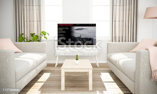 istock smart television series streaming on scandinavian minimal interior 1127330587