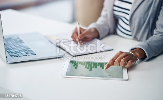 Shot of an unrecognizable businesswoman using a digital tablet with graphs on it in a modern office