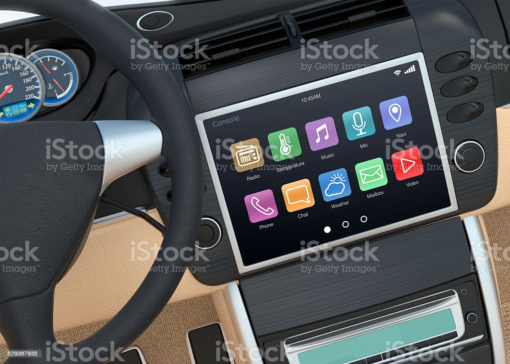 Smart touch screen multimedia system for automobile. stock photo