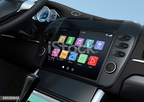 Smart touch screen multimedia system for automobile. Original design and 3D rendering image.