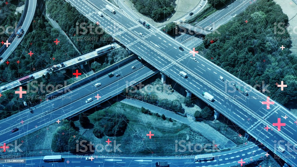 Concepto de red de transporte y comunicación inteligente. - Foto de stock de 5G libre de derechos