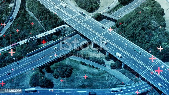 istock Smart transportation and communication network concept. 1154360096