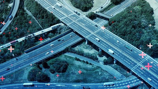 Concepto De Red De Transporte Y Comunicación Inteligente Foto de stock y más banco de imágenes de 5G