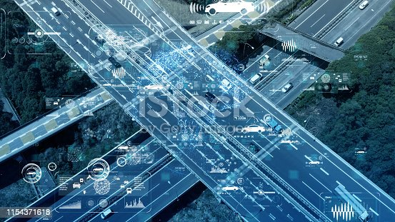 istock Smart transportation and communication network concept. 1154371618