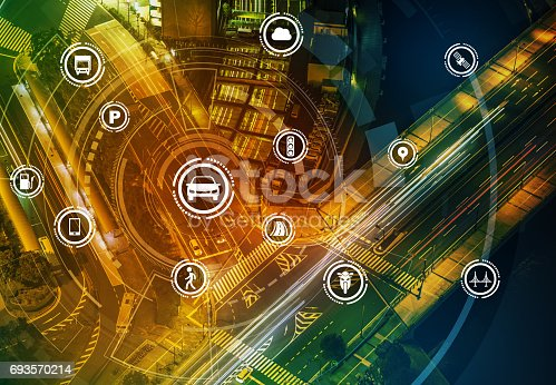 istock Smart transportation technology concept, smart city, Internet of things, vehicle to vehicle, vehicle to infrastructure, vehicle to pedestrian, abstract image visual 693570214