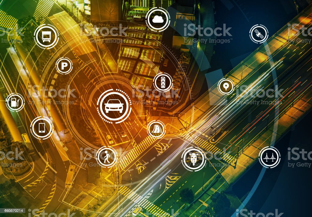 Smart transportation technology concept, smart city, Internet of things, vehicle to vehicle, vehicle to infrastructure, vehicle to pedestrian, abstract image visual stock photo