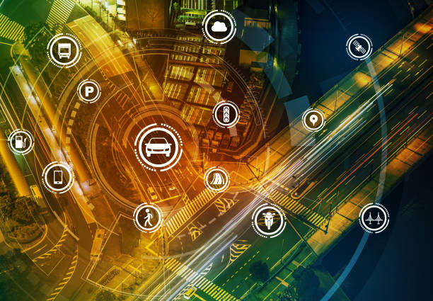 smart transportation technology concept, smart city, internet of things, vehicle to vehicle, vehicle to infrastructure, vehicle to pedestrian, abstract image visual - smart city stock photos and pictures