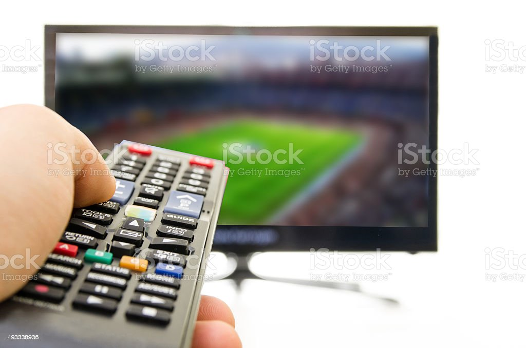 Smart TV also enjoy football stock photo