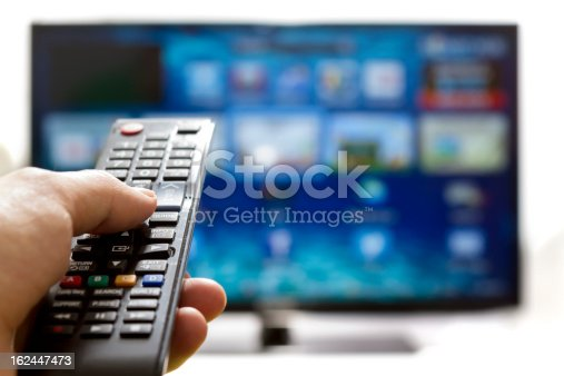 istock Smart tv and hand pressing remote control 162447473