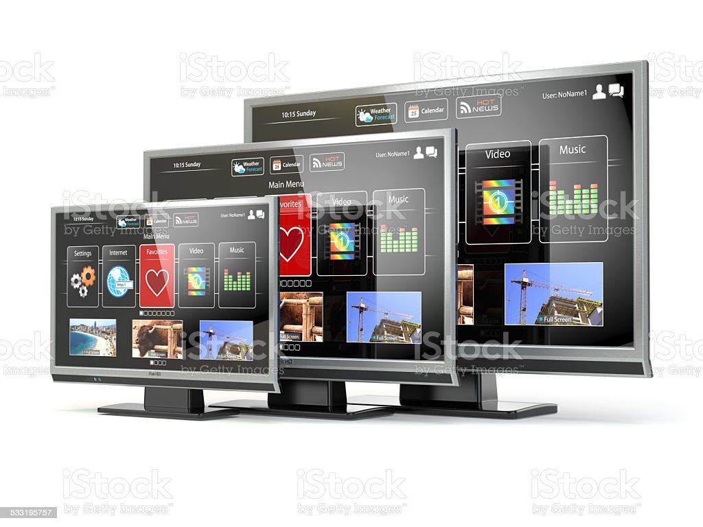 Smart TV flat screen lcd or plasma with web interface. stock photo