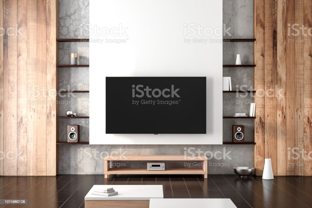 Smart Tv Mockup Hanging On The Wall In Living Room With Shelves Stock Photo Download Image Now Istock
