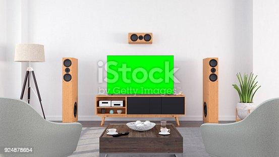istock Smart Tv Mockup in living room 924878654