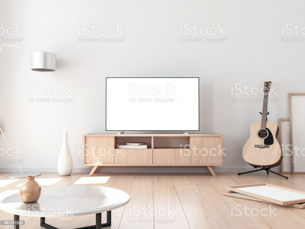 Smart Tv Mockup, living room with acoustic guitar
