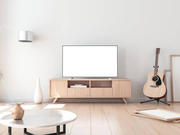smart tv mockup, wohnzimmer mit akustik-gitarre - wohnschrank stock-fotos und bilder