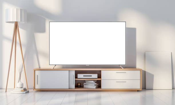smart tv mockup on console in white modern living room - televisor imagens e fotografias de stock