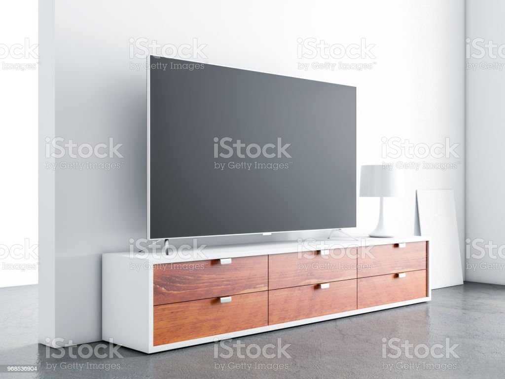 Smart tv mockup on wooden bureau console in living room stock photo