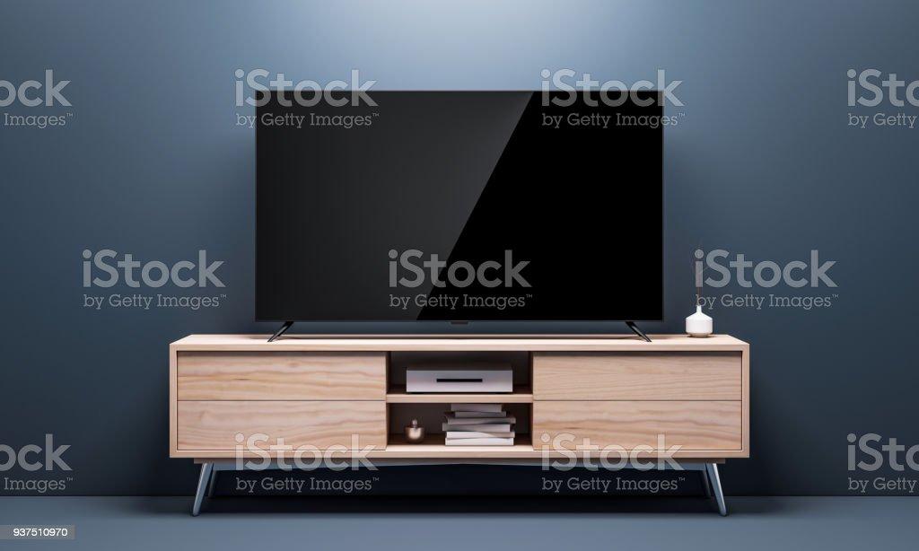 Maqueta de Tv inteligente con pantalla negra brillante en consola en sala de estar - foto de stock