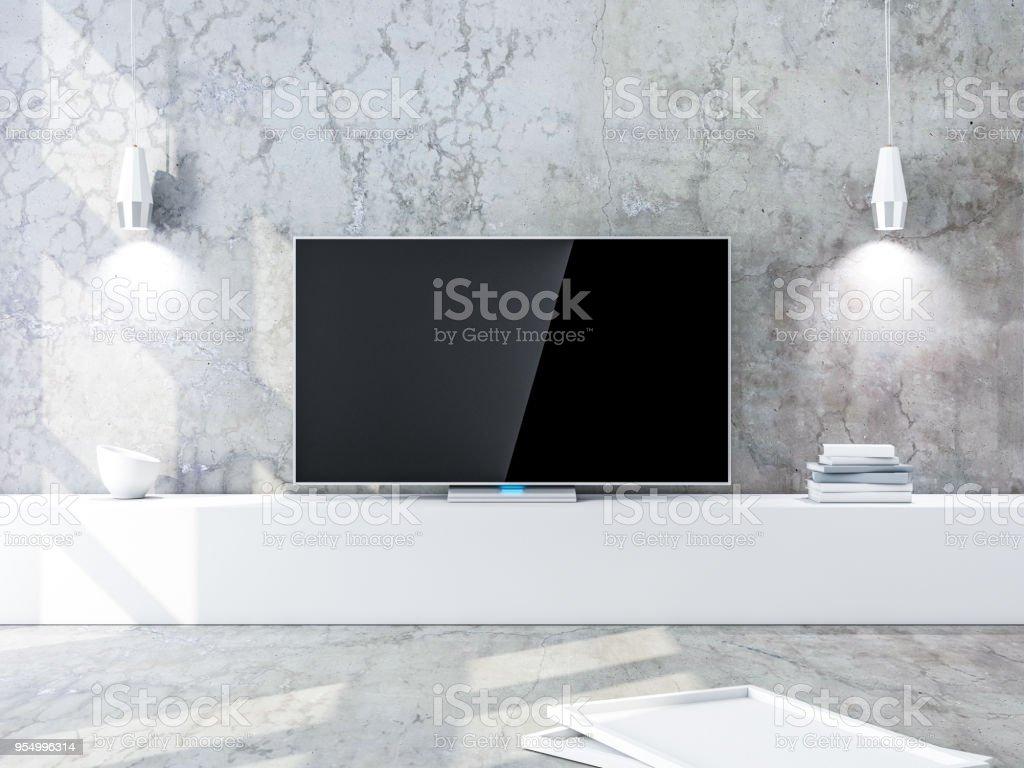 Smart tv mockup met zwart scherm moderne woonkamer met betonnen