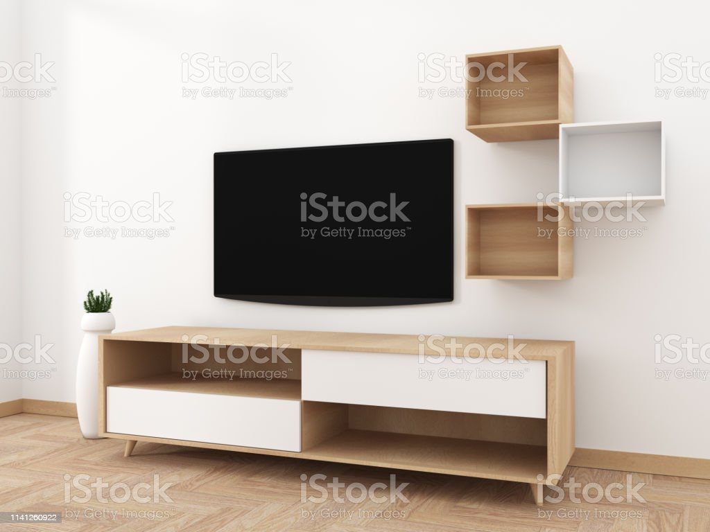 Smart Tv Mockup With Blank Black Screen Hanging On The Cabinet Decor Modern Living Room Zen Style 3d Rendering Stock Photo Download Image Now Istock