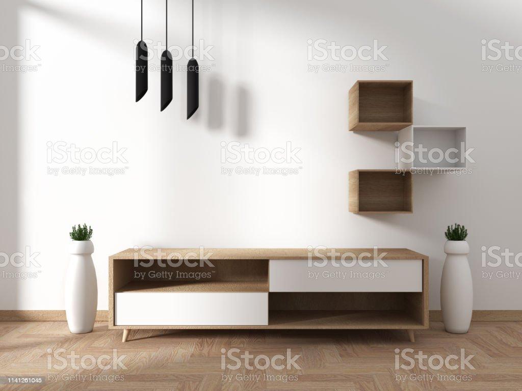Décoration Salon Moderne Noir Et Blanc photo libre de droit de maquette smart tv avec Écran noir