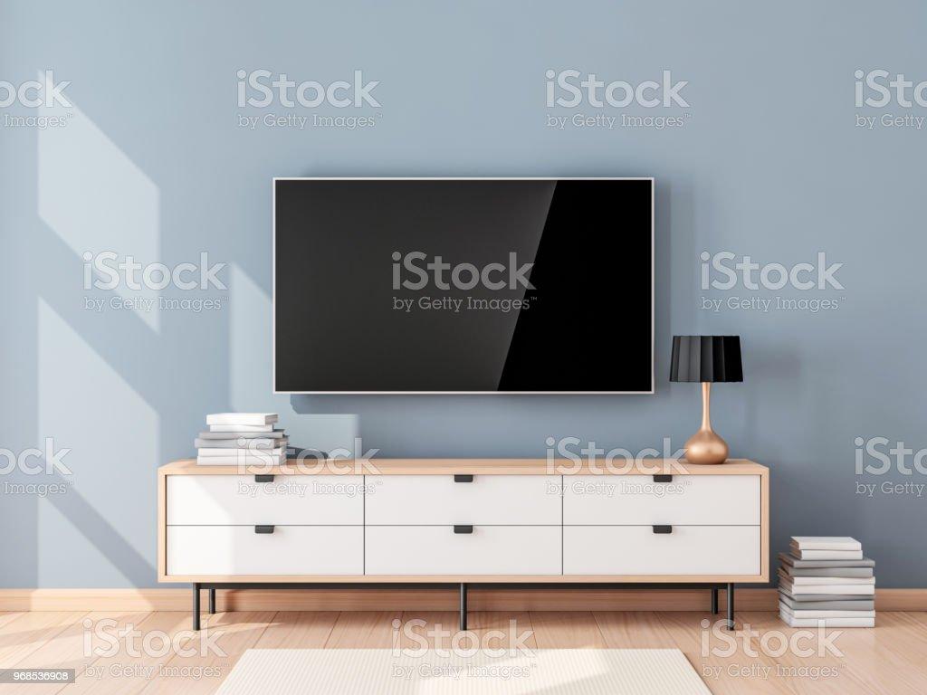 Smart Tvmockup Mit Leeren Bildschirm An Der Wand Im Modernen ...