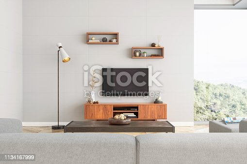 Smart Tv Mockup with blank screen in modern living room