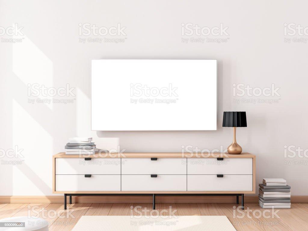 Smart Tvmockup Mit Weissen Bildschirm An Der Wand Im Modernen