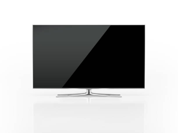 UHD 4K Smart Tv On White Background UHD 4K Smart Tv standing on white background. Front view. Clipping path is included. ultra high definition television stock pictures, royalty-free photos & images