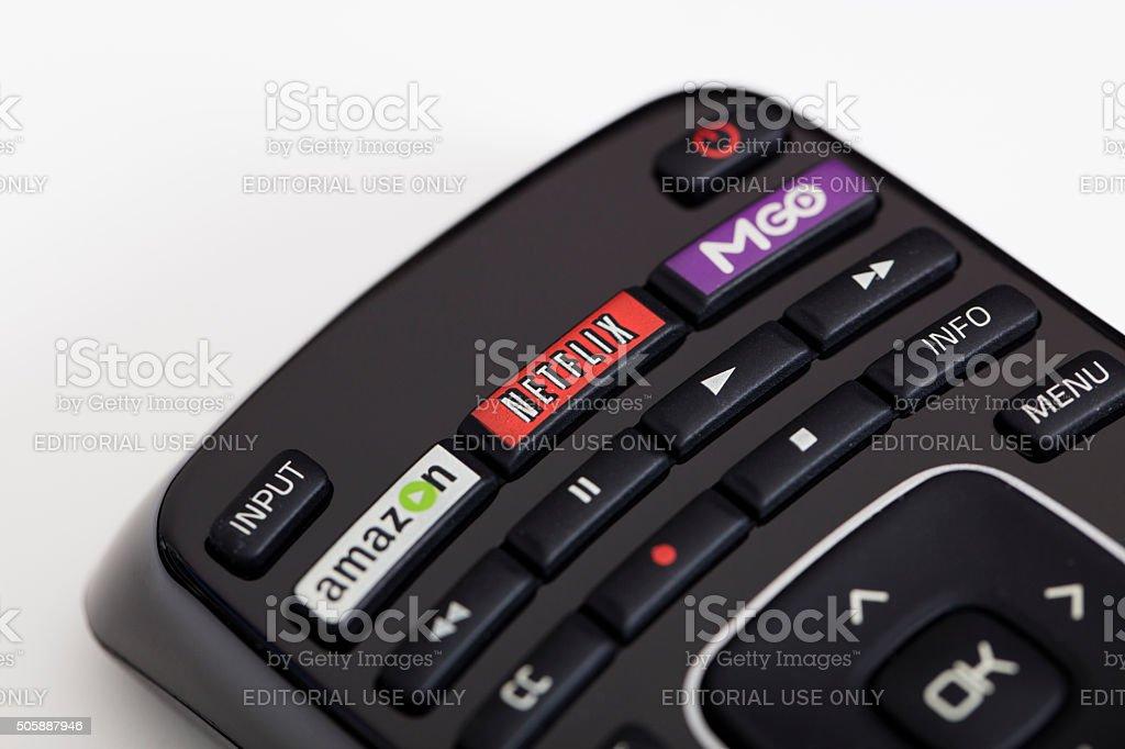 Smart TV remote stock photo