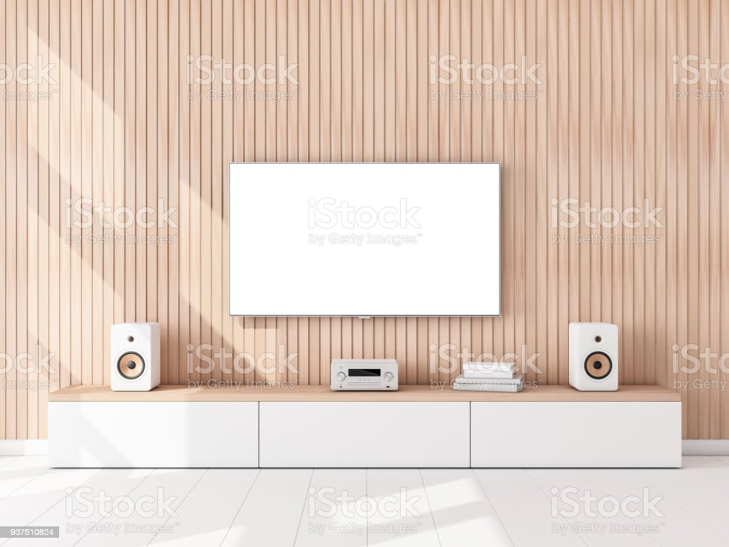 Smart Tv Set Mockup With White Screen Hanging On The Wooden Wall Hi ...