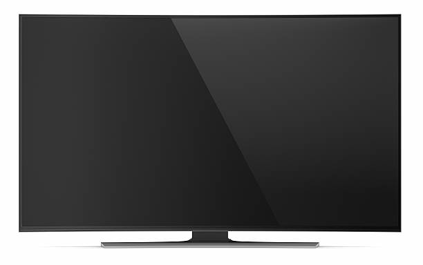 UHD smart tv with curved screen on white UHD smart tv with curved screen on white background 4k resolution stock pictures, royalty-free photos & images