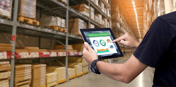 istock Smart warehouse management system 1097309244