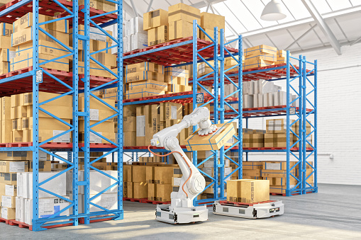 Autonomous warehouse with robots.