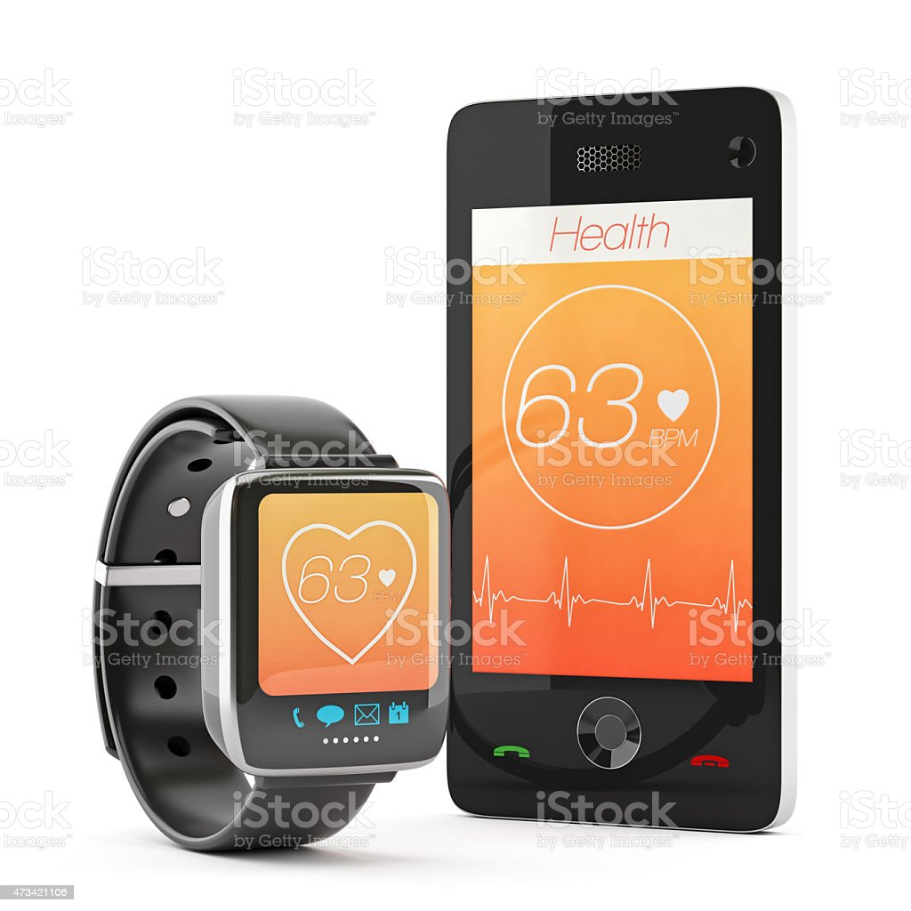 Smart Watch and Smart Phone Displaying Health Apps stock photo